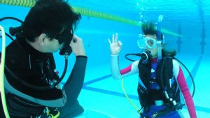 Pictured above is a student at Pro Dive's Learn to Scuba Dive Course