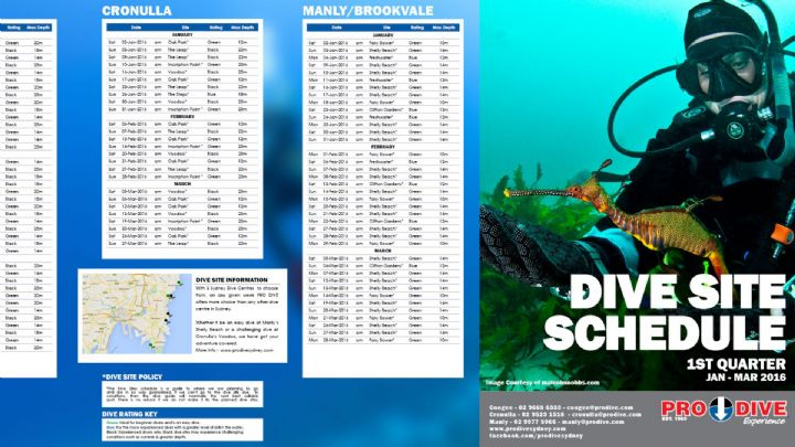 Sydney Shore and Boat Dive Schedule